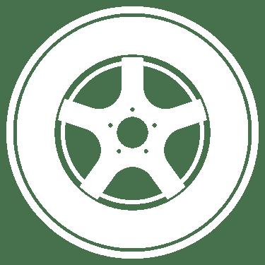 Pictogramme blanc d'une roue